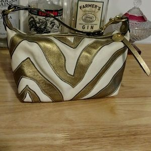 Coach gold and white small purse